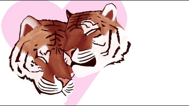 Tigers In Love - Valentine's Day  #art #artist #tiger #love #valentines #day #valentinesday #draw #drawing #youtube #youtuber #process #video #timelapse