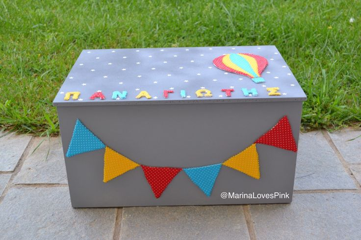 A personal favourite from my Etsy shop https://www.etsy.com/listing/278324564/personalised-christening-boxhot-air #κουτίβάπτισης #storagebox #toybox #personalised #hotairballoon #bunting #name #custom #βάπτιση #handmade #unique
