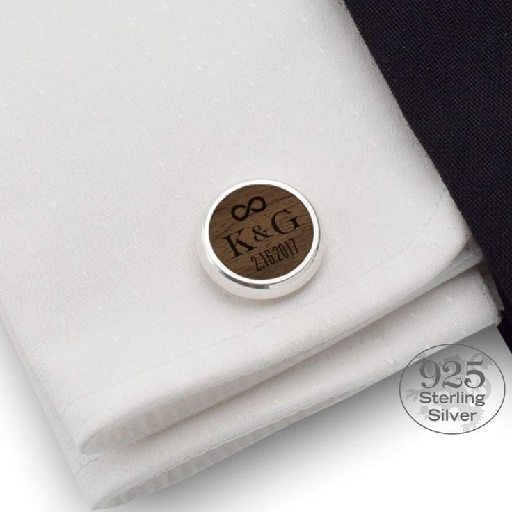 Personalized wedding cufflinks Date and Initial Groom
