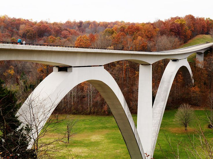 Natchez Trace Parkway Bridge near Nashville Tennessee - Take a drive on the Natchez Trace Parkway or take a walk over the bridge for views  of glorious Fall colors.
