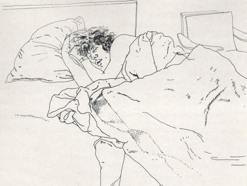 David Hockney line drawing