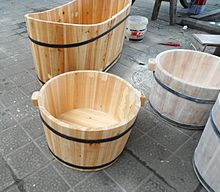 Wooden bathtubs for children and infants in Haikou, Hainan, China