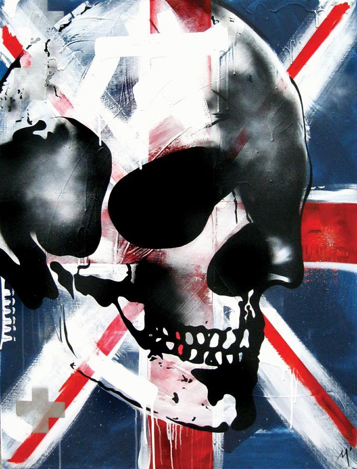 "Original Artwork by Matt Stewart. Size: 90cm (35.4"") x 120cm (47.2""). Acrylic / Aerosol #art #artwork #uk #skull #home #interiordesign  www.mattstewart.tv"
