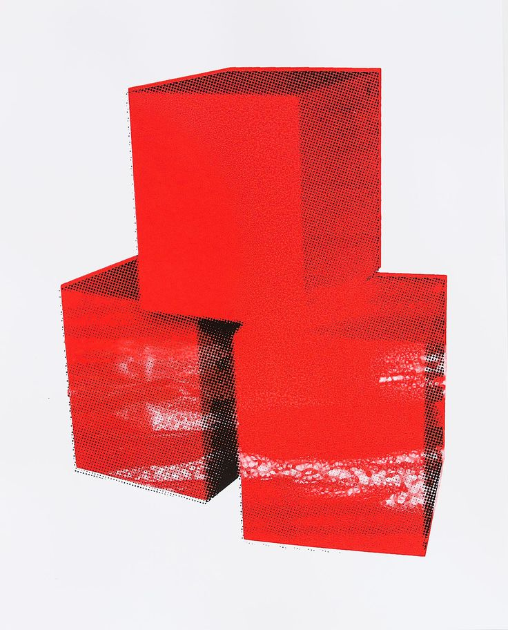 """#LifeOnWall #PapeBoxGallery """"Boxes Red"""" Unique high quality art piece (only one). Handmade silkscreen and paint. Paper 300 g Gallerie Art Silk. Size 25,98 x 18,11 Inch (66 x 46 cm). 168 USD"""