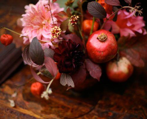 Maroon Dahlias And Pomegranates Floral Design By Sarah