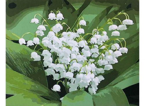 «Ландыши» Картина по номерам, картина-раскраска по номерам, раскраска по номерам, paint by numbers, купить картину по номерам - Zvetnoe.ru - картины по номерам, алмазная мозаика