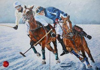Polo on snow, 220x310 cm, oil on canvas