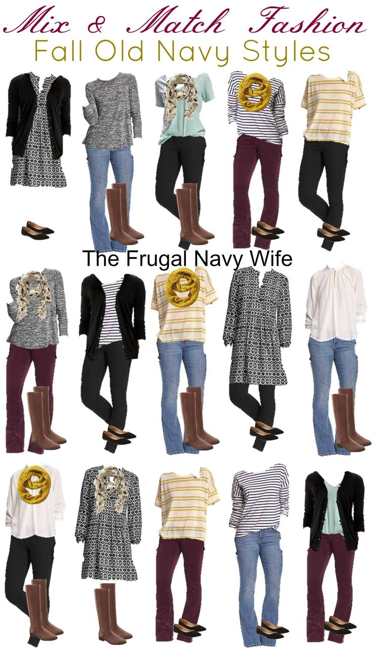 Old Navy Mix and Match Fall Outfits - The Frugal Navy Wife. I have a lot of similar items that wouldn't have put together