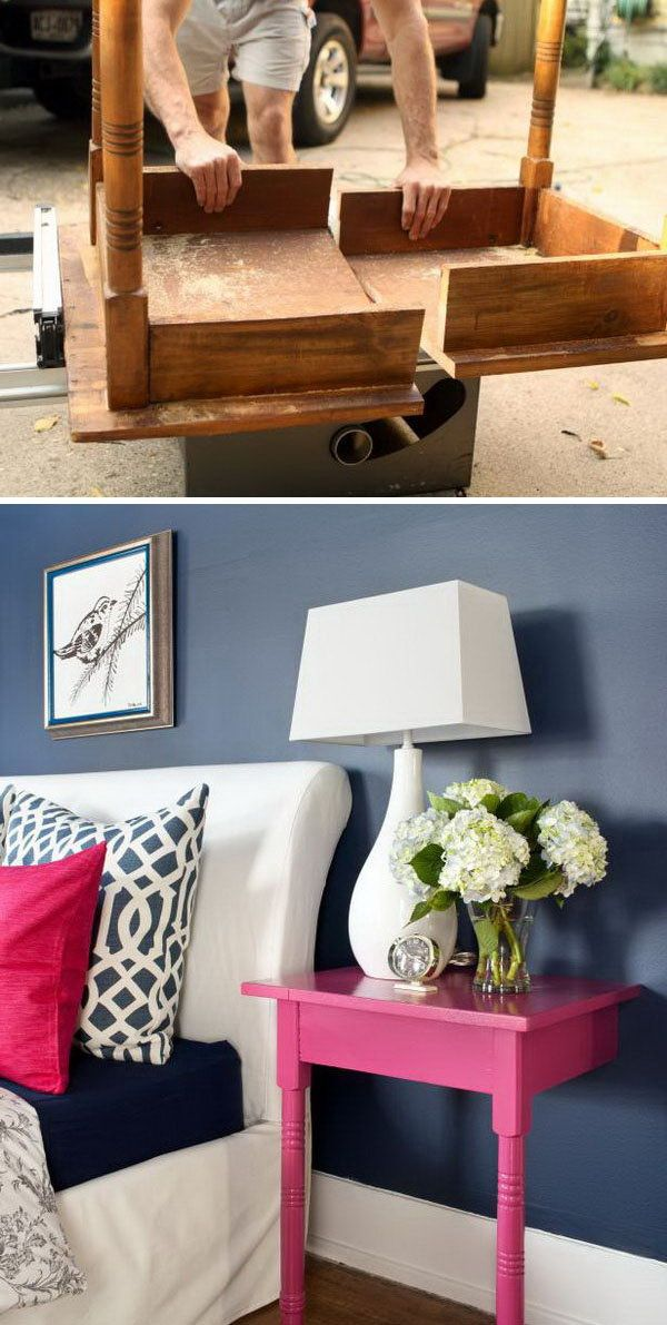 Turn an Unused Table into a Pair of Stylish and Useful Nightstands -really neat the way they mount to the wall!