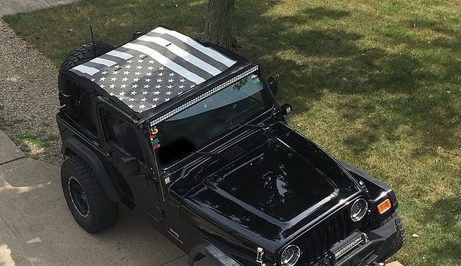 JTopsUSA - Tactical American Flag Jeep Wrangler  Mesh Top. Available for 1997-2017 Wranglers