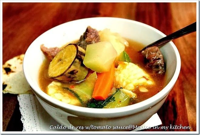 Caldo de res con verduras, Cocido de res, Mexican Beef Soup.  www.mexicoinmykitchen.com #recipe  #food #mexican #beef #soups