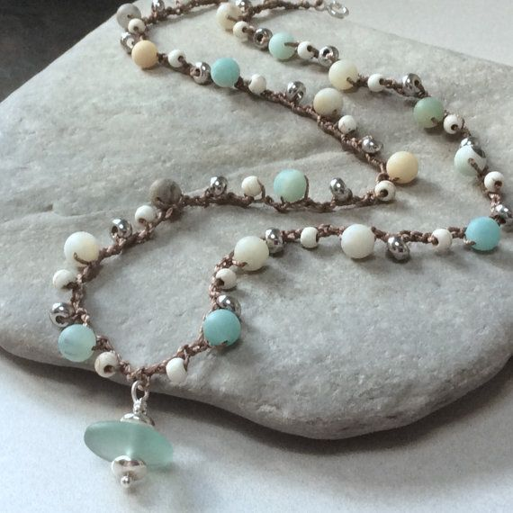 Handmade boho necklace cultured sea glass by BlueRockJewellery