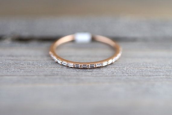 14k Rose Gold Dainty Thin Baguette Cut Rectangle by ASweetPear