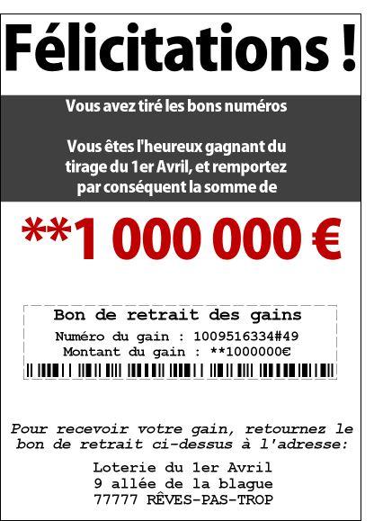 Carte Gagnant de la loterie du 1er avril pour envoyer par La Poste, sur Merci-Facteur !