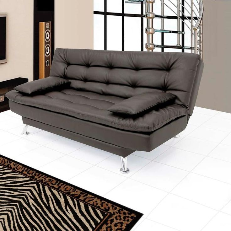 FabHomeDecor Supersoft Three Seater Sofa cum Bed (Leatherette Black)