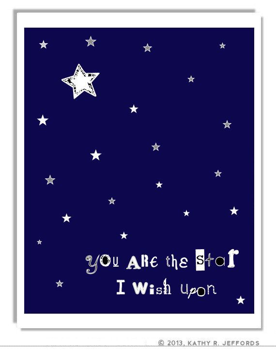 Stars Art Print, Navy Blue And White Nursery Art, Baby Boy Wall Decor, Celestial Quote Art, Constellations Art, Typographic Print, Night Sky...