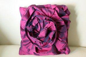 Make a Ruffled Rose Pillow from an upcycled bridesmaid's dress by Samantha Baldwin #Rose_Pillow #Bridesmaid_Dress #Samantha_Baldwin
