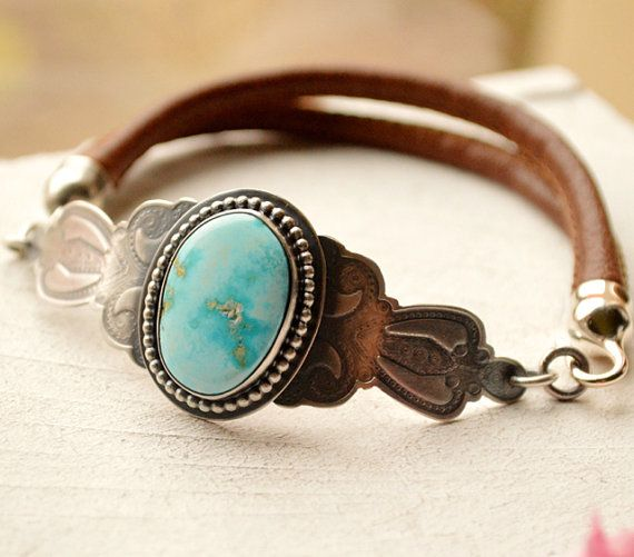 Silver Turquoise Leather Bracelet with Rustic Finish by EONDesign