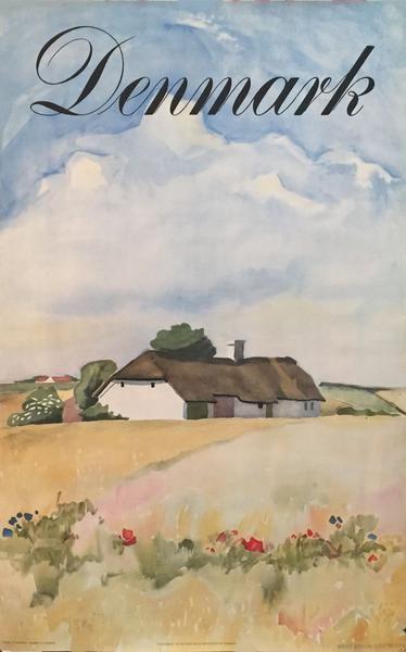 1948 Vintage Travel Denmark Poster, Danish Impressionism, Rural Landscape