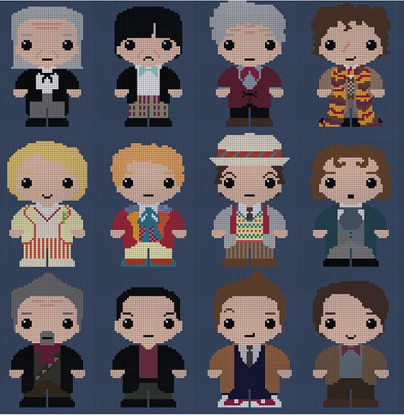 Doctor Who 12 Doctors Cross stitch pattern by SnowFallonSea, £6.00