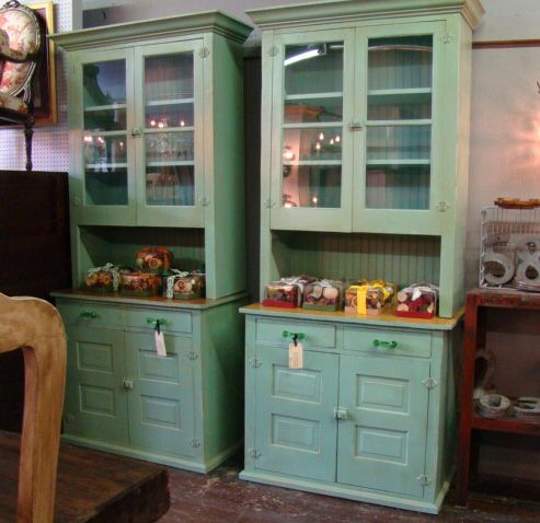 Reclaimed Wood Butler Pantry Cabinets | Pair   Painted Pine Butleru0027s Pantry  Cabinets. Each 42
