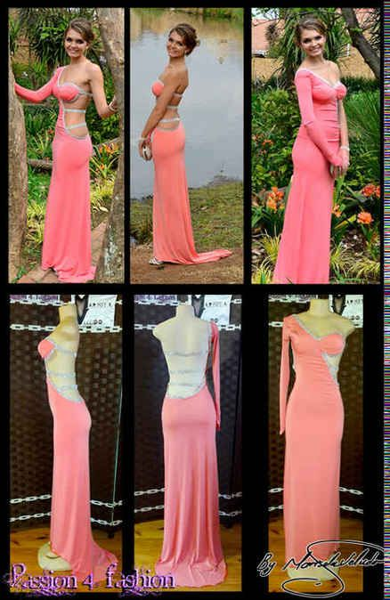 A tight and sexy coral matric dance dress
