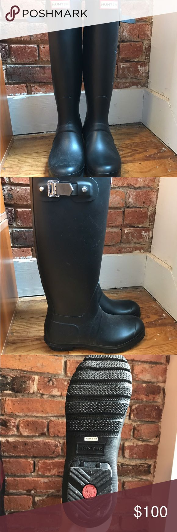 Hunter Original Tall Rain Boots - Like New Black, tall, Hunter Rain Boots. Like new. Received them as a gift and wore to the airport only! Hunter Boots Shoes Winter & Rain Boots