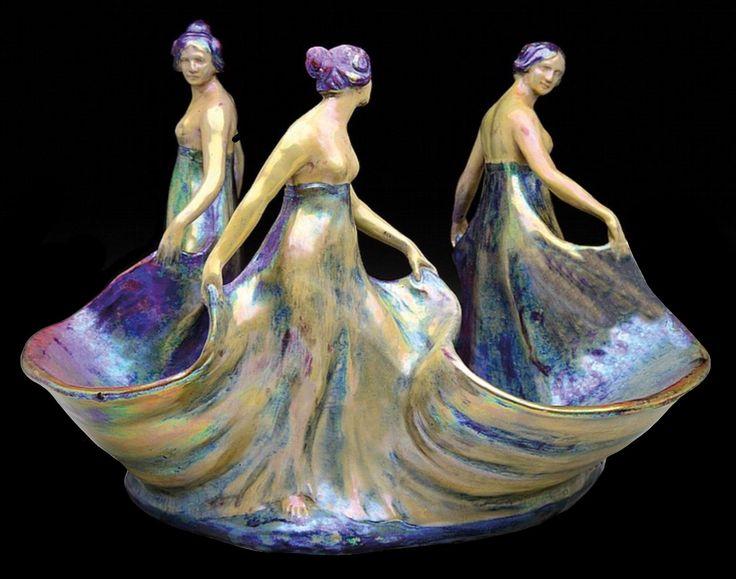 Zsolnay Art Nouveau Figural Centerpiece | JV