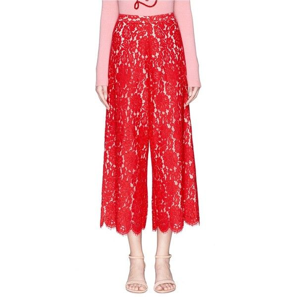 Alice + Olivia 'Olsen' floral guipure lace culottes (22,210 INR) ❤ liked on Polyvore featuring pants, capris, red, lace pants, floral pants, flower print pants, floral printed pants and alice olivia pants