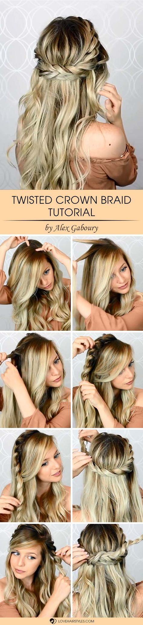 This twisted crown braid tutorial allows you to master a lovely look in just several minutes. Even an amateur can repeat these steps.