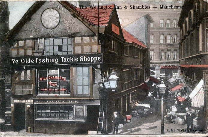 The Old Shambles, created in the 16th century, relocated a short distance following the 1996 terrorist bombing by the IRA at Arndale, Manchester, United Kingdom, pictured on a postcard mailed in 1904.