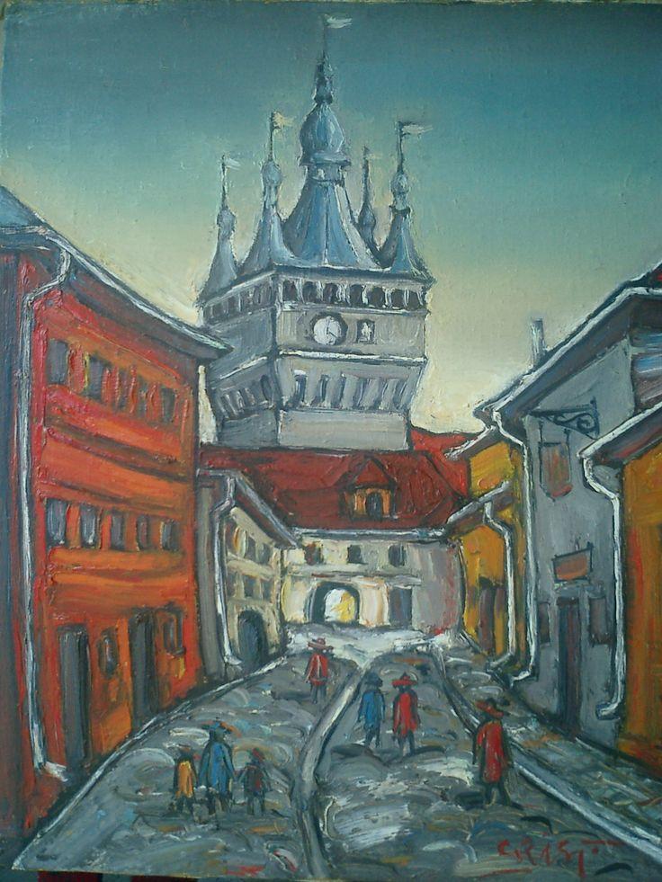 Ioan Cristea - Peisaj din Sighisoara u/p 50/60 cm