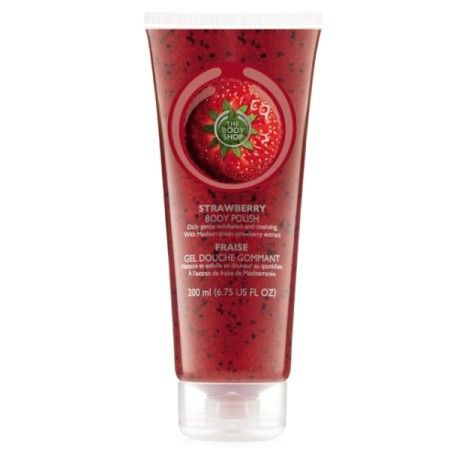 The Body Shop STRAWBERRY BODY POLISH 200ML This exfoliating, gel-based, foaming scrub loaded with exfoliating crushed walnut shells and kiwifruit seeds gently buffs away dead skin cells to leave skin soft and smooth. • Suitable for daily use • Gently exfoliates • Sweet strawberry scent