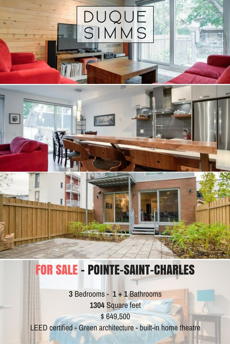 Green architecture condo in Montreal.  A model of modern design, comfort and durability.  #PointeSaintCharles #Montreal #condo #threebedroom #forsale #LEED #Novoclimat #realestate #realtor #brokers