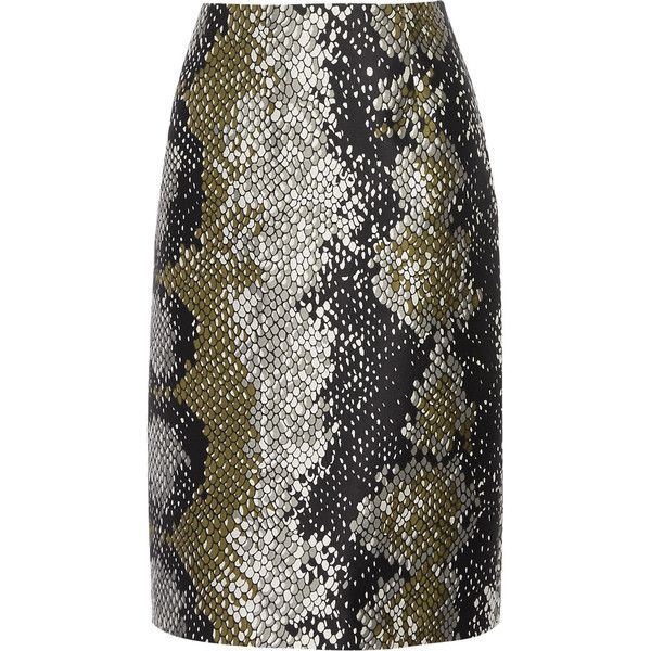 Prada - Snake-print Wool And Silk-blend Skirt ($610) ❤ liked on Polyvore featuring skirts, black, wool skirts, prada skirt, patterned skirts, python skirt and military skirts