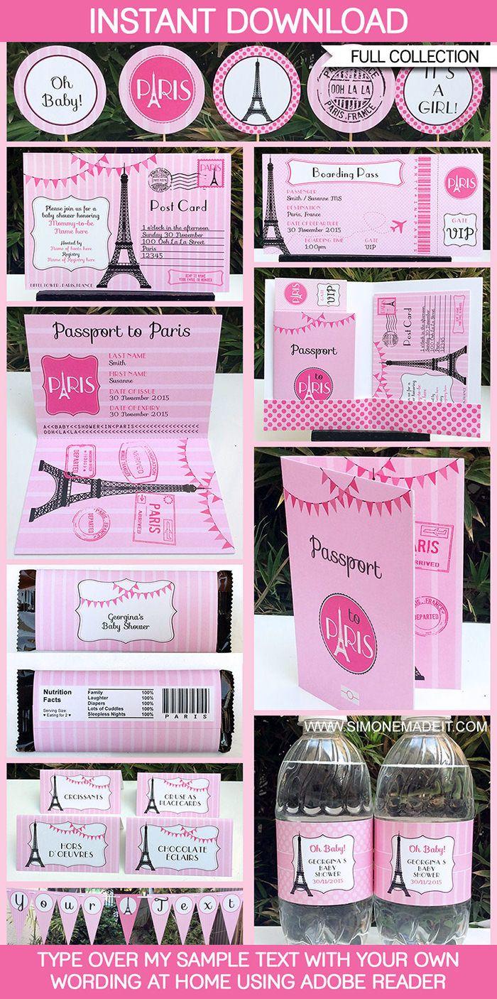 Paris Baby Shower Printables, Invitations & Decorations | Pink | Paris Theme Template