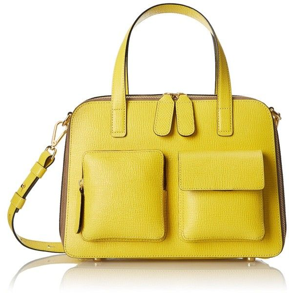 Orla Kiely Textured Leather Bay Bag ($174) ❤ liked on Polyvore featuring bags, handbags, orla kiely purse, orla kiely bags, orla kiely handbags, yellow handbag and yellow bag