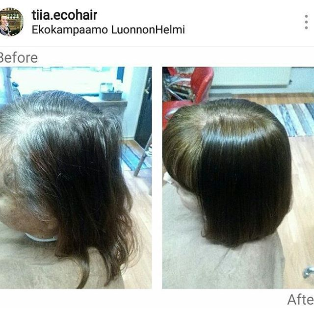 Harmaanpeitosta ennen ja jälkeen -kuvat 💇 - repost @tiia.ecohair luonnonhelmi.fi #ennenjajälkeen #beforeandafter #phorestsalonsoftware #greyhair #brownhair #radico #colormeorganic #ecosalon #ekokampaamo #luonnonhelmi