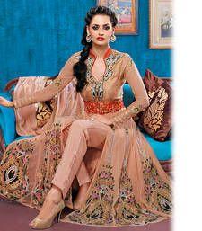 Buy Peach Anarkali Suit party-wear-salwar-kameez online