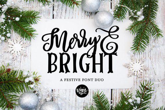Instant Otf Font Duo Merry Bright Christmas Font Installable Font Otf Script Font Font Bundle Christmas Fonts Merry Bright Christmas Merry And Bright