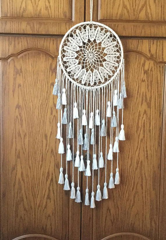 Large Dream Catcher Beige Dreamcatcher Boho Dream Catcher Housewarming Gift Native American Dreamcatcher Doily Dream Catcher Wall Hanging It will defend you and your family from bad dreams and fight against evil spirits trying to creep into your house at night because they will