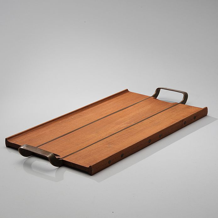 Tapio Wirkkala; Teak and Copper Serving Tray for Kultakeskus Oy, 1960s.