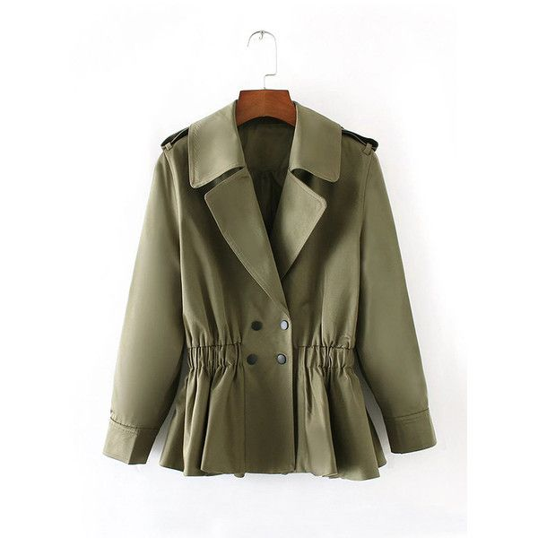 Green Turndown Collar Ruffle Hem Trench Coat (£38) ❤ liked on Polyvore featuring outerwear, coats, brown trench coat, brown coat and trench coat