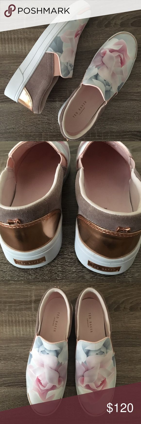 Ted Baker Slip On Sneakers Brand new. Color is porcelain rose. Suede with rose gold accents. Floral pattern. The size tag on these says 8 US/39 UK, but these are absolutely an 8.5 US. Very comfy just too big for me as I wear a true 8! Dress down with athleisure wear it dress up with leather leggings! Ted Baker Shoes Sneakers