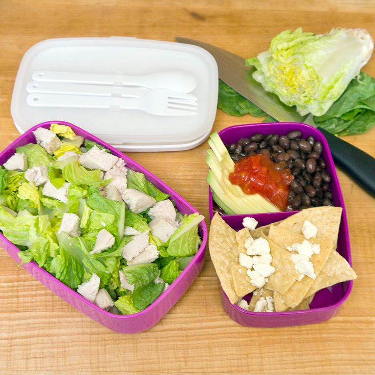 This chicken taco salad sticks with your healthy eating goals by leaving out high-fat sour cream and kicking up the flavor with fresh ingredients. Chop romaine lettuce, and add cubed, steamed chicken. Mix together equal parts tasty salsa and black beans and one-fourth of a sliced avocado. Pack with low-fat tortilla chips and a sprinkling of feta cheese, which is low in calories and gives a little zing to the salad. When it's time to eat, simply scoop the salsa mixture over the chicken and…