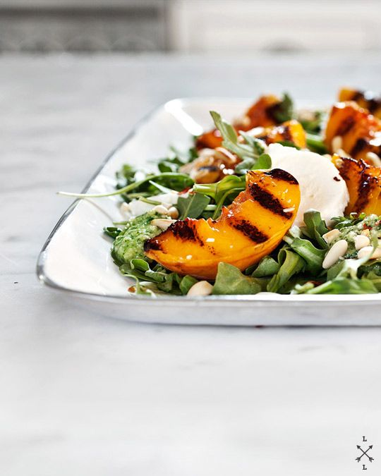 grilled peach salad with mint & basil pesto | Love and Lemons