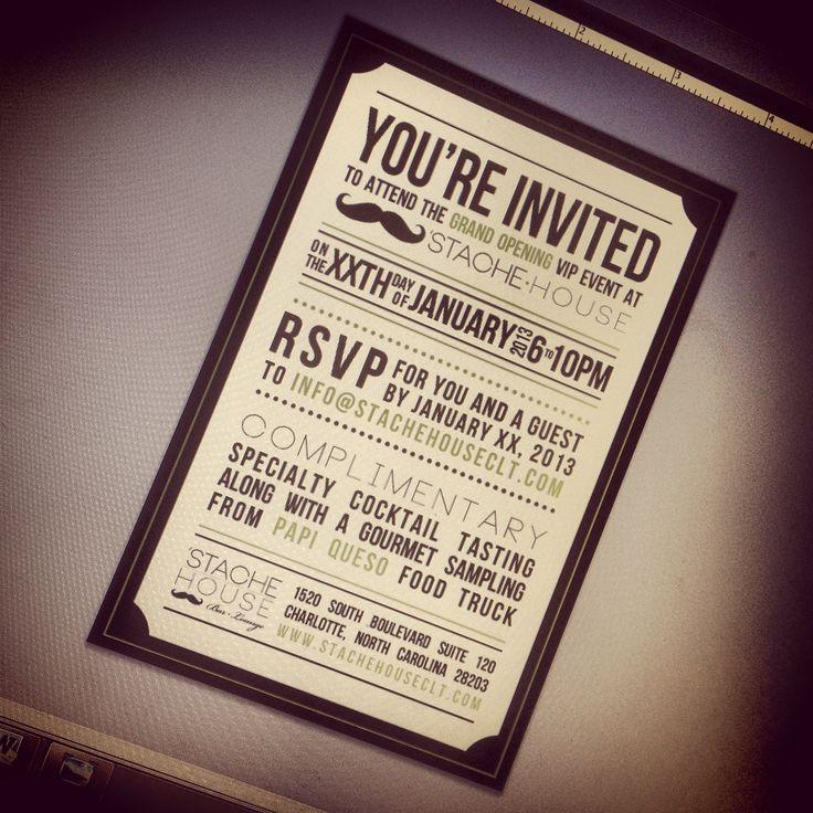 Grand Opening invitation design for Stache House