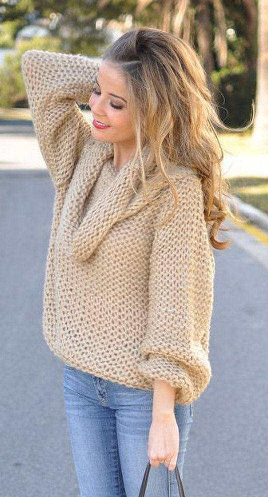 Tejido a mano de cuello de barco de mano tejer de las mujeres chimenea cuello suéter suéter cardigan de mujer vestir cuello redondo cuello v