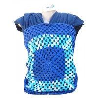 Wrap Sling Malha 100% Algodão Penteada - Azul Escuro com Crochet 2