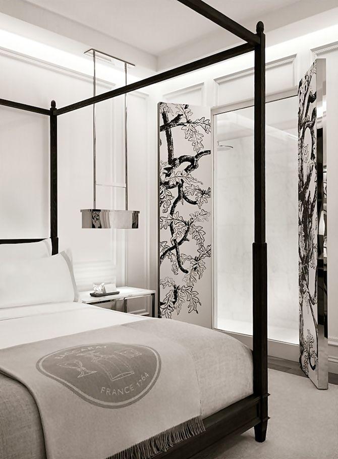 Stunning bedroom at Baccarat Hotel NYC.